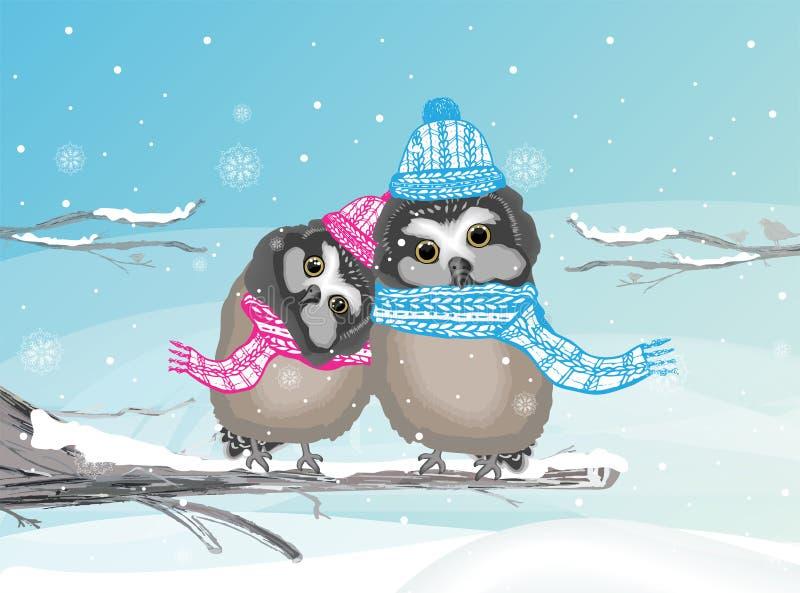 Deux hiboux mignons au pays des merveilles d'hiver, se reposant sur une branche photo stock