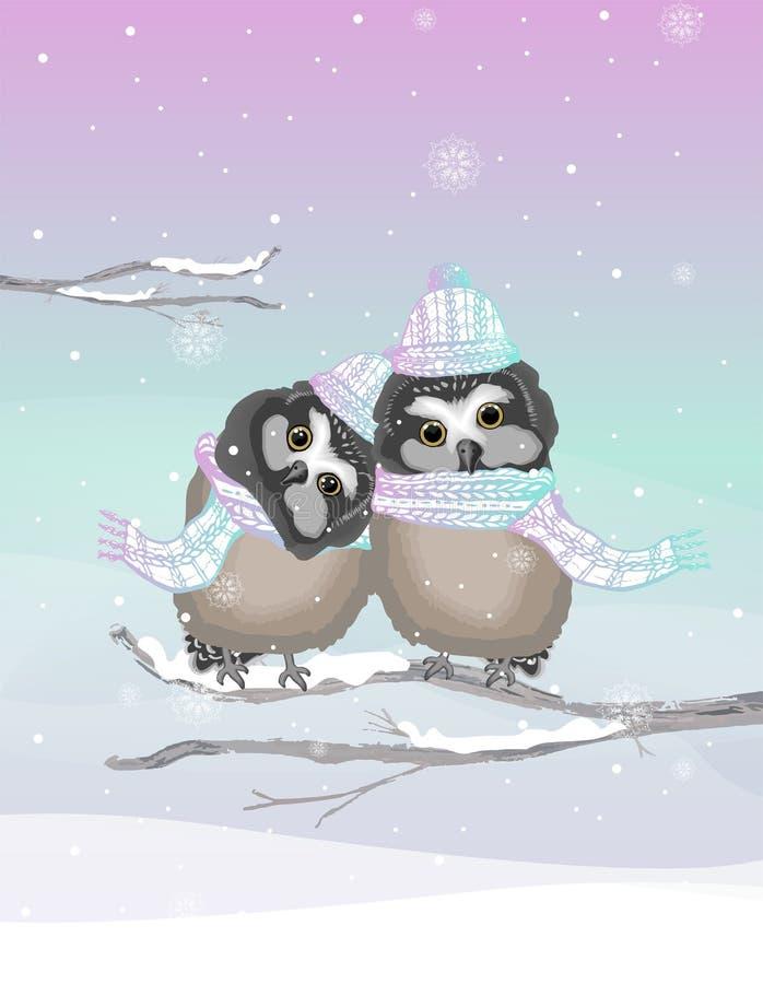 Deux hiboux mignons avec le chapeau et l'écharpe tricotés sur un fond gelé d'hiver images libres de droits