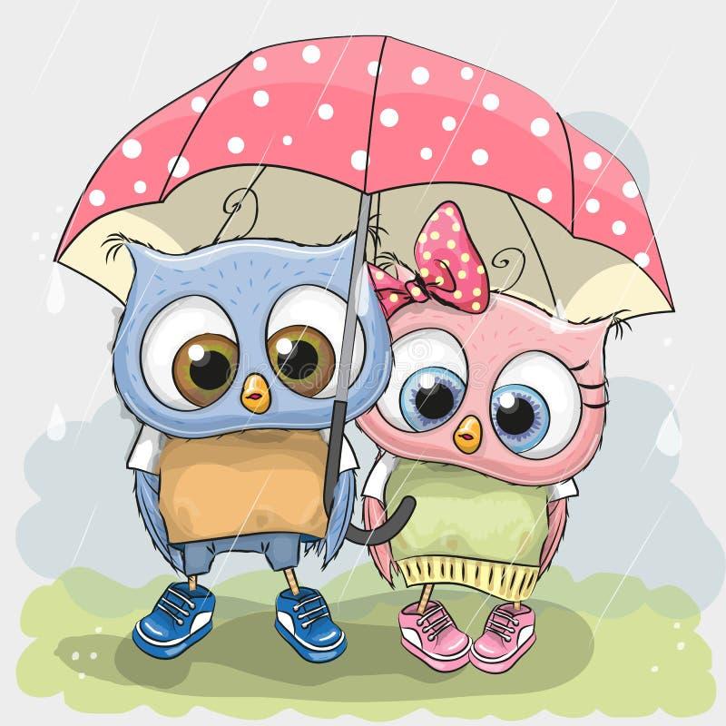 Deux hiboux mignons d'amants illustration stock