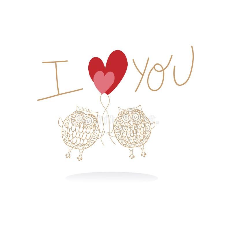 Deux hiboux mignons dans la carte de mariage d'amour illustration stock