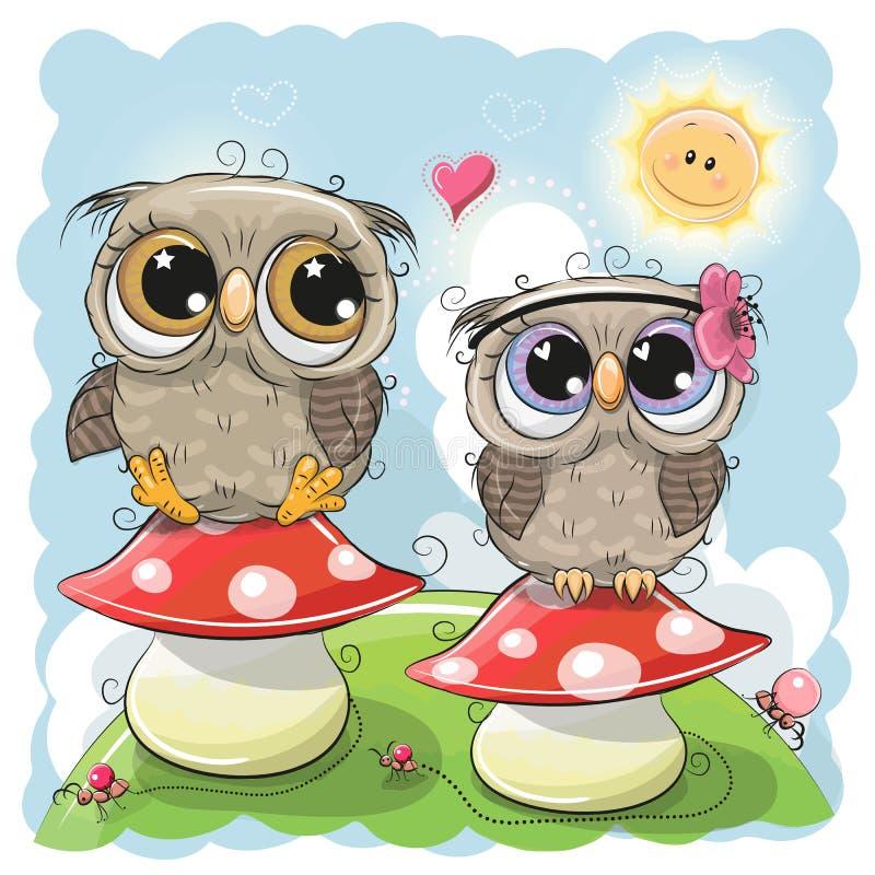 Deux hiboux mignons se reposent sur des champignons illustration stock