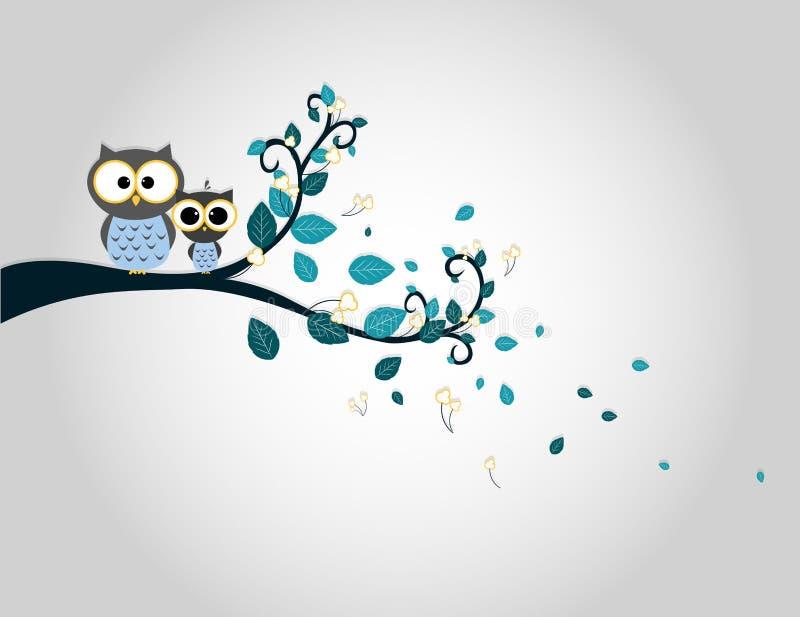 Deux hiboux mignons sur une silhouette de branche d'arbre illustration libre de droits
