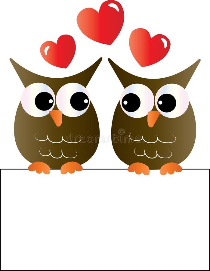 Deux hiboux tenant un amour de signe illustration de vecteur