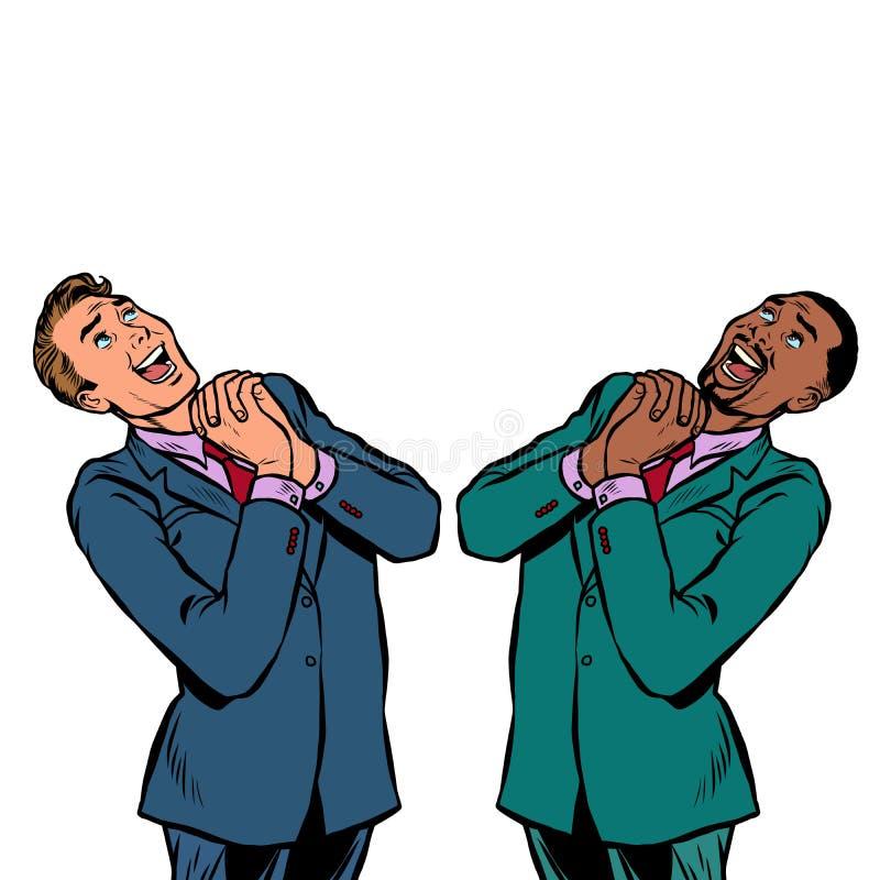 Deux homme d'affaires heureux African et émotions caucasiennes et joyeuses illustration de vecteur
