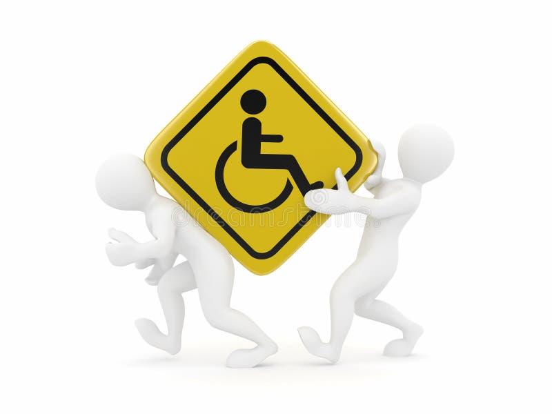 Deux hommes avec le fauteuil roulant de signe illustration stock