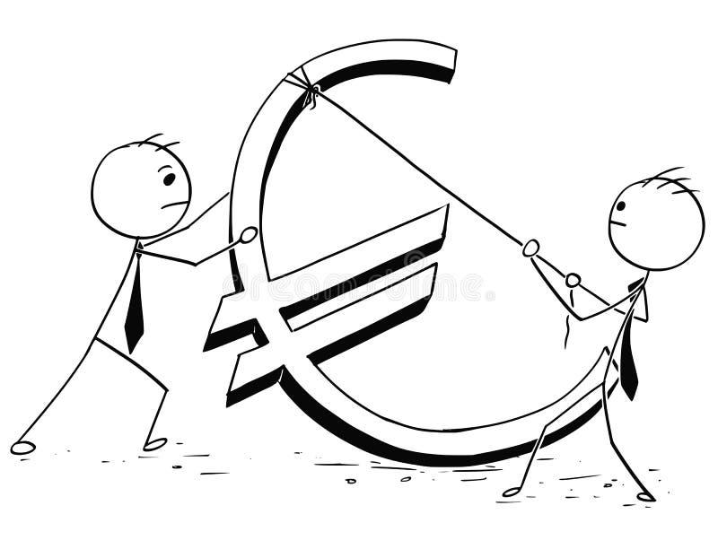 Deux hommes d'affaires érigeant le grand euro signe illustration de vecteur