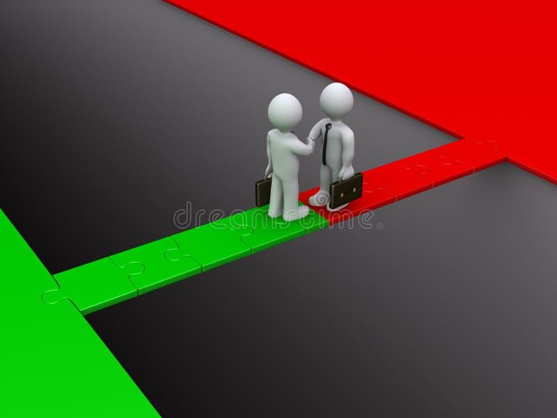 Deux hommes d'affaires conviennent sur un pont de puzzle illustration libre de droits