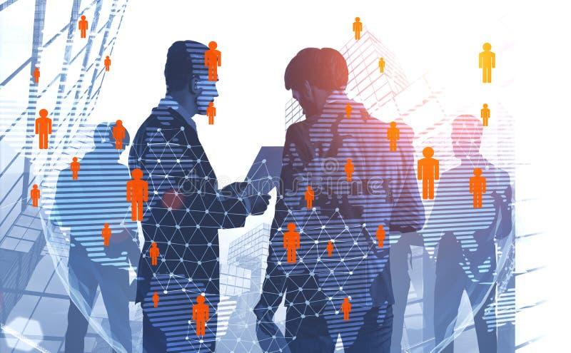 Deux hommes d'affaires dans la ville, réseau global de personnes illustration stock