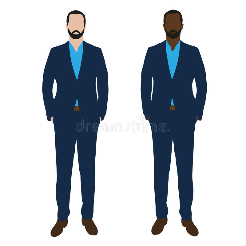 Deux hommes d'affaires dans les costumes bleus illustration stock