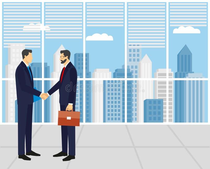 Deux hommes d'affaires dans les costumes se serrant la main illustration de vecteur