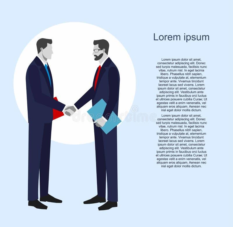 Deux hommes d'affaires dans les costumes se serrant la main illustration libre de droits