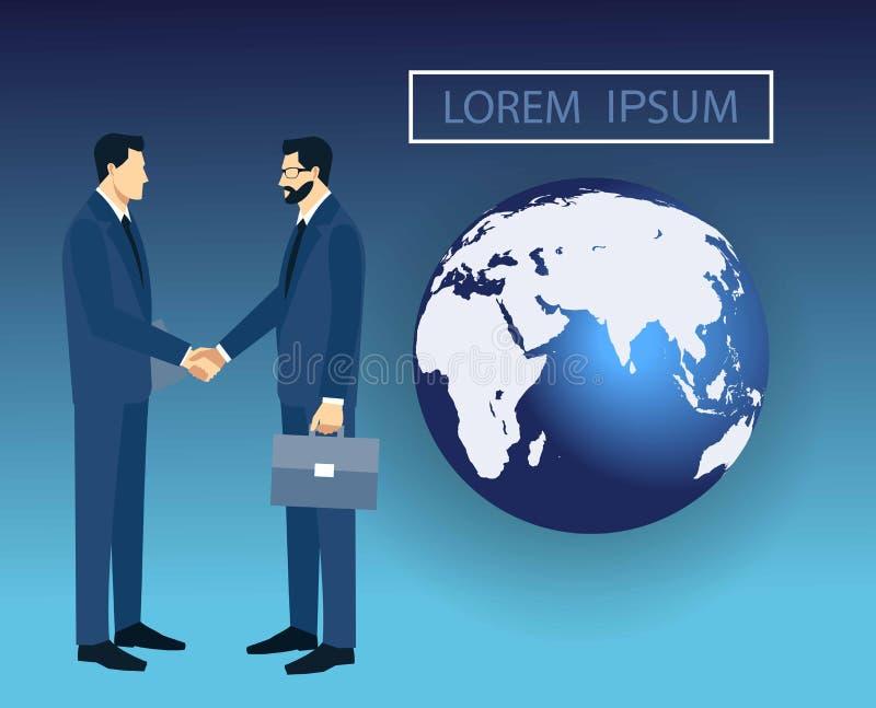 Deux hommes d'affaires dans les costumes se serrant la main pour signer un contrat Le concept d'une transaction réussie illustration libre de droits