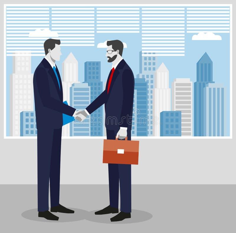 Deux hommes d'affaires dans les costumes se serrant la main pour signer un contrat Le concept d'une transaction réussie illustration stock