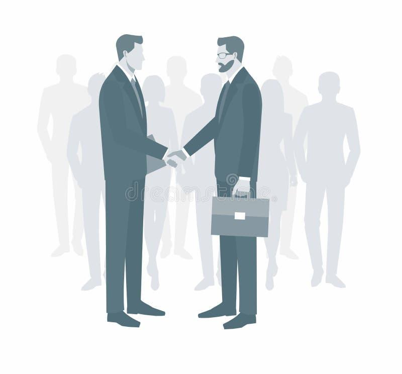 Deux hommes d'affaires dans les costumes se serrant la main pour signer un contrat Le concept d'une transaction réussie Groupe de illustration de vecteur