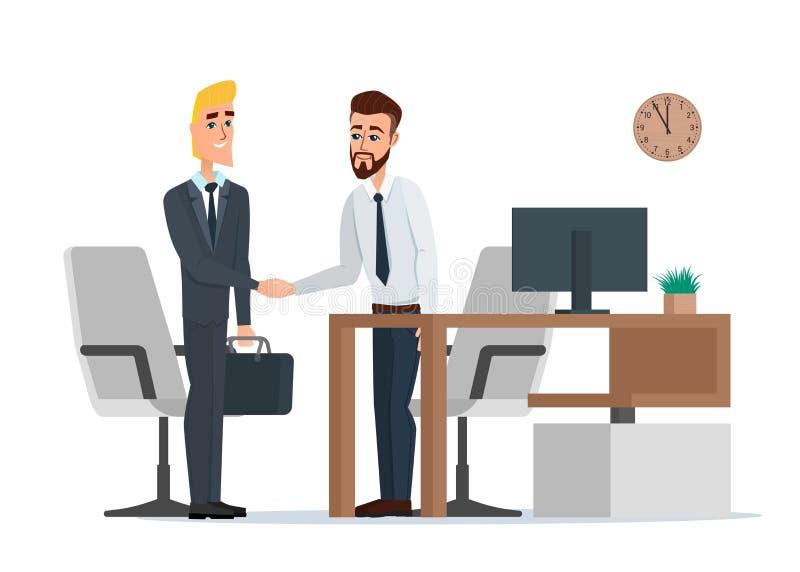 Deux hommes d'affaires dans les costumes sont poignée de main dans le bureau illustration libre de droits