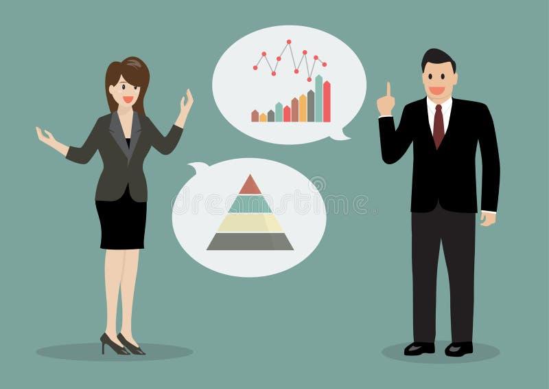 Deux hommes d'affaires discutant la planification financière illustration libre de droits