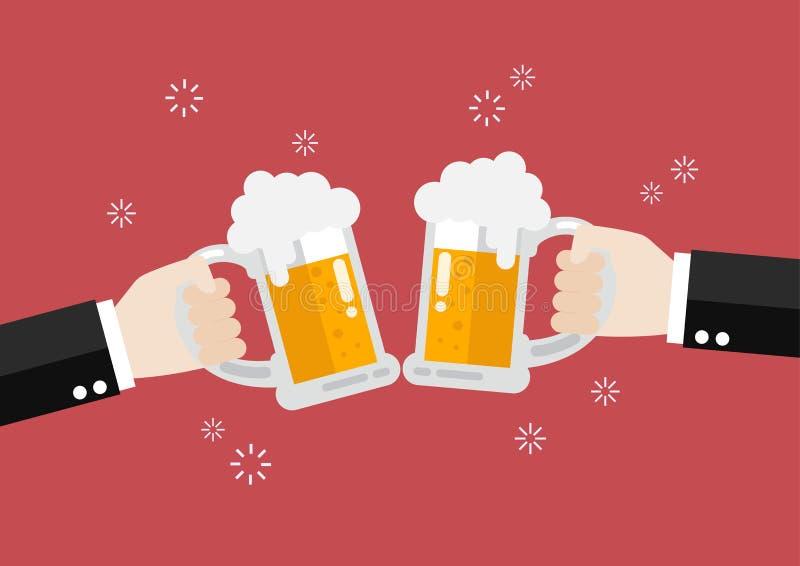 Deux hommes d'affaires grillant des verres de bière illustration stock