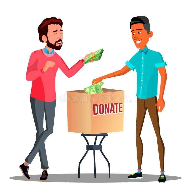 Deux hommes d'affaires mettant l'argent dans un vecteur de boîte de donation Illustration d'isolement illustration libre de droits
