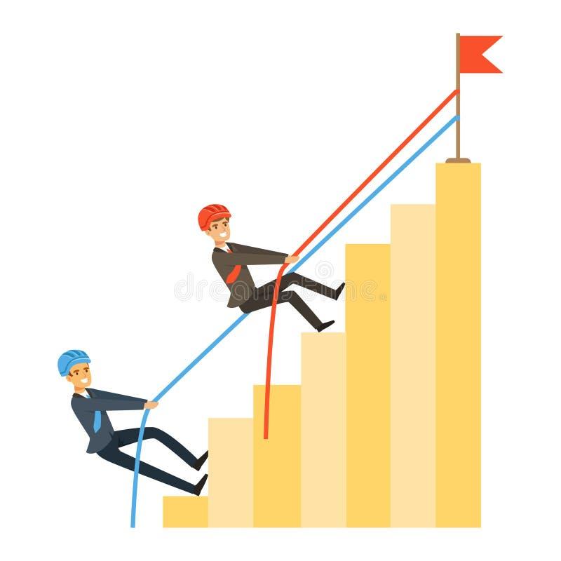 Deux hommes d'affaires montant la barre analogique du succès, illustration de vecteur de concurrence d'affaires illustration libre de droits