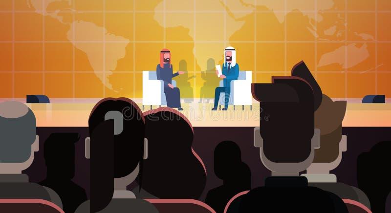 Deux hommes d'affaires ou politiciens sur Coference ou entrevues arabes de réunion de discussion parlant Sit Over World Map In Fr illustration de vecteur