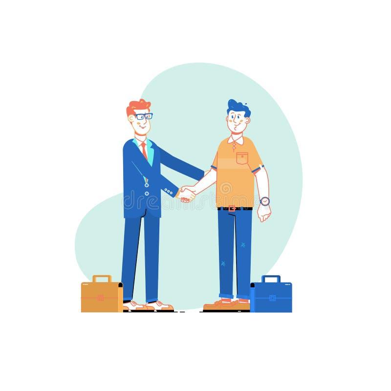 Deux hommes d'affaires se serrent la main, concept de réunion d'association d'affaires Illustration de vecteur illustration libre de droits
