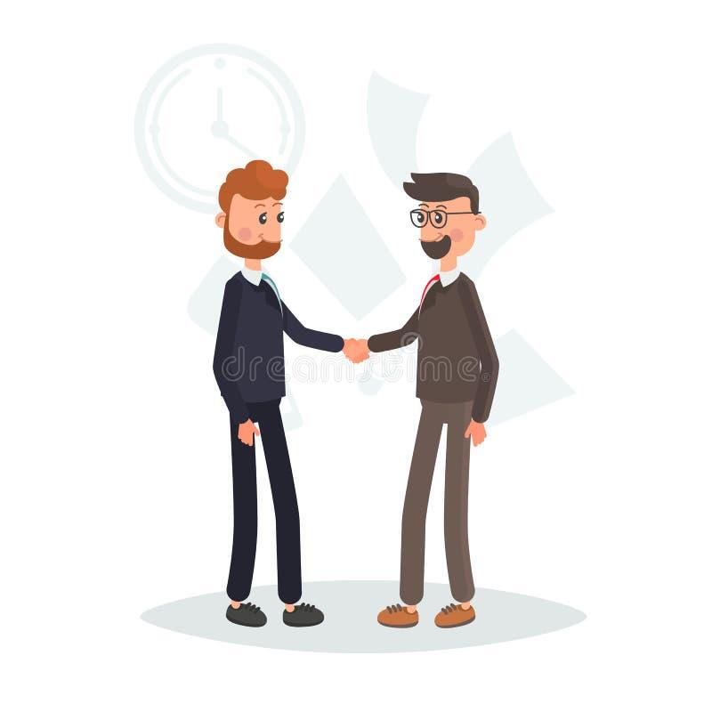 Deux hommes d'affaires se serrent la main l'illustration plate de couleur illustration libre de droits