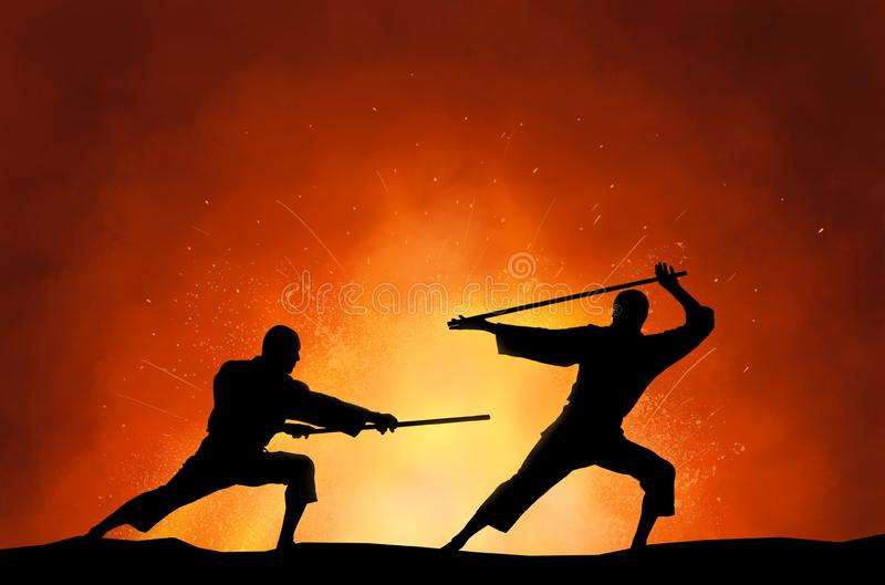 Deux hommes d?montrant des arts martiaux illustration libre de droits