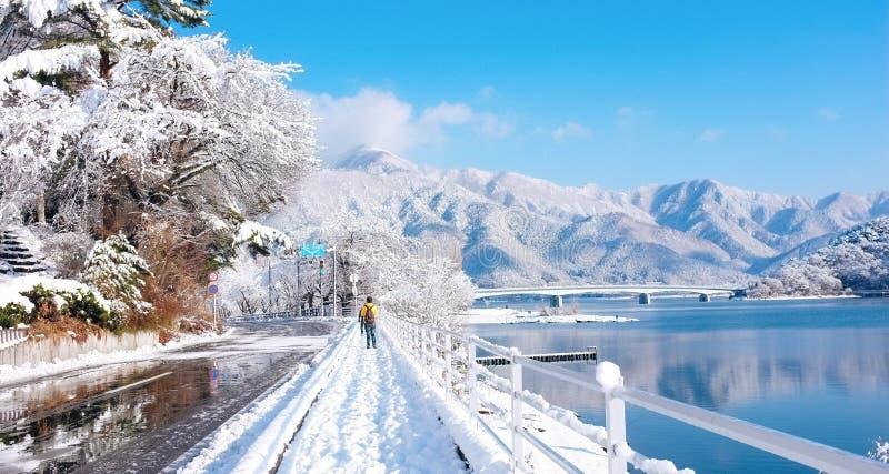 Deux hommes dans le lac Kawaguchiko, Japon images stock