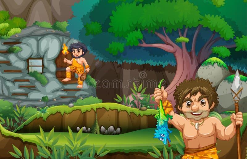 Deux hommes des cavernes vivant dans le stonehouse illustration stock