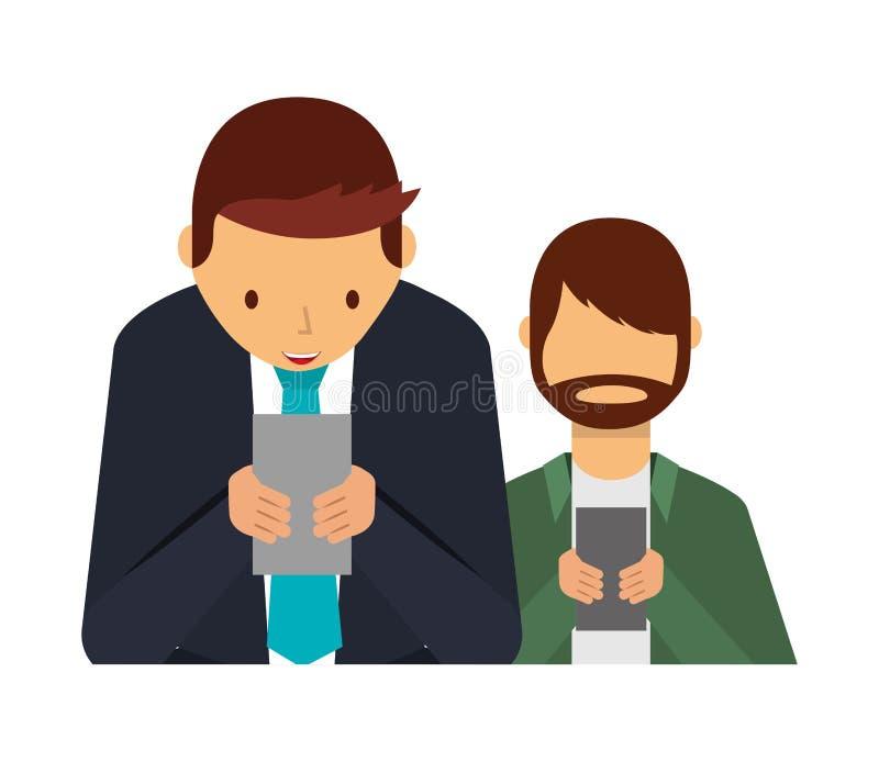 Deux hommes employant des m?dias sociaux de d?pendance de smartphone illustration stock