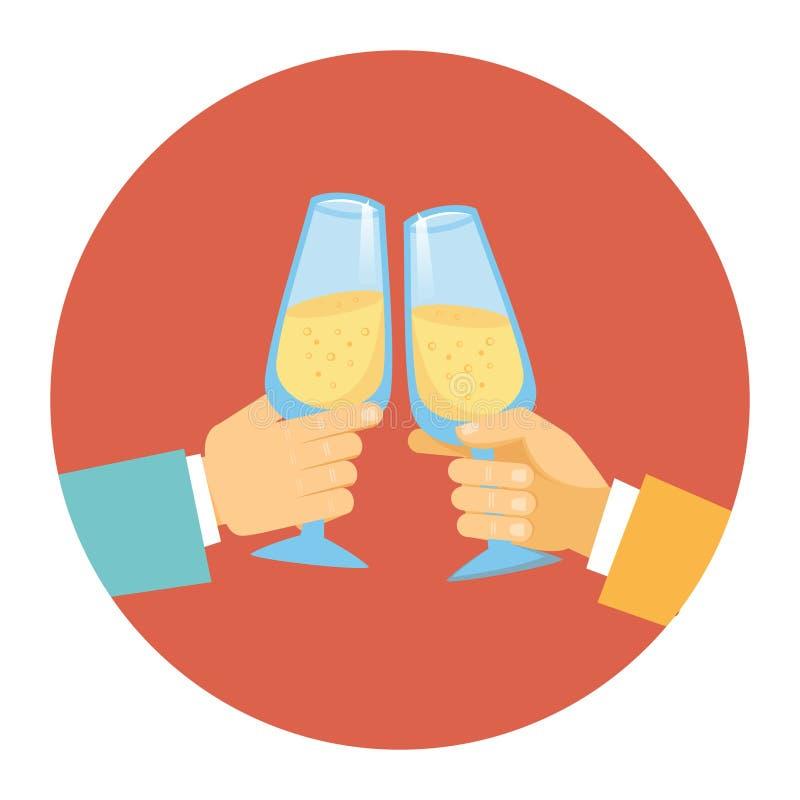 Deux hommes grillant avec le champagne illustration de vecteur
