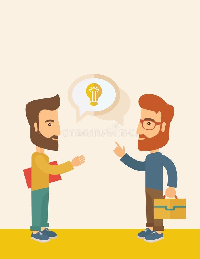Deux hommes partageant des idées illustration stock
