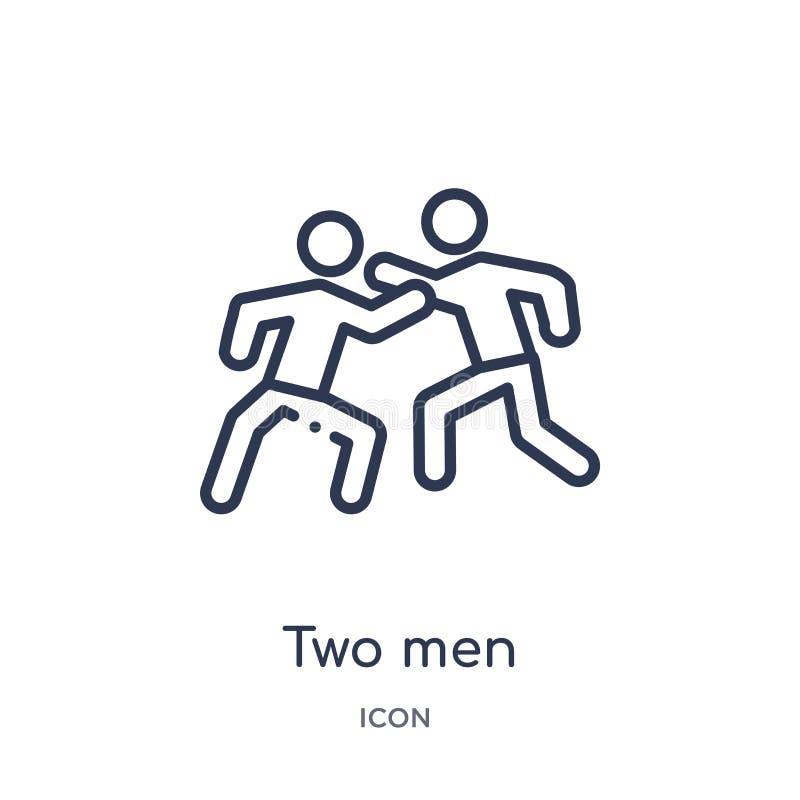 deux hommes pratiquant l'icône de karaté de la collection d'ensemble de sports Ligne mince deux hommes pratiquant l'icône de kara illustration stock