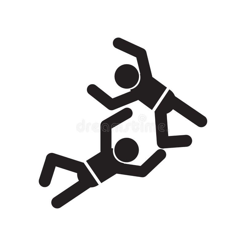 Deux hommes pratiquant le signe et le symbole de vecteur d'icône de karaté d'isolement sur le fond blanc, deux hommes pratiquant  illustration stock