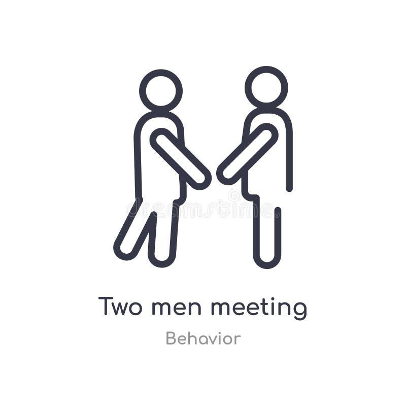 deux hommes rencontrant l'icône d'ensemble r se réunir mince editable d'hommes de la course deux illustration stock