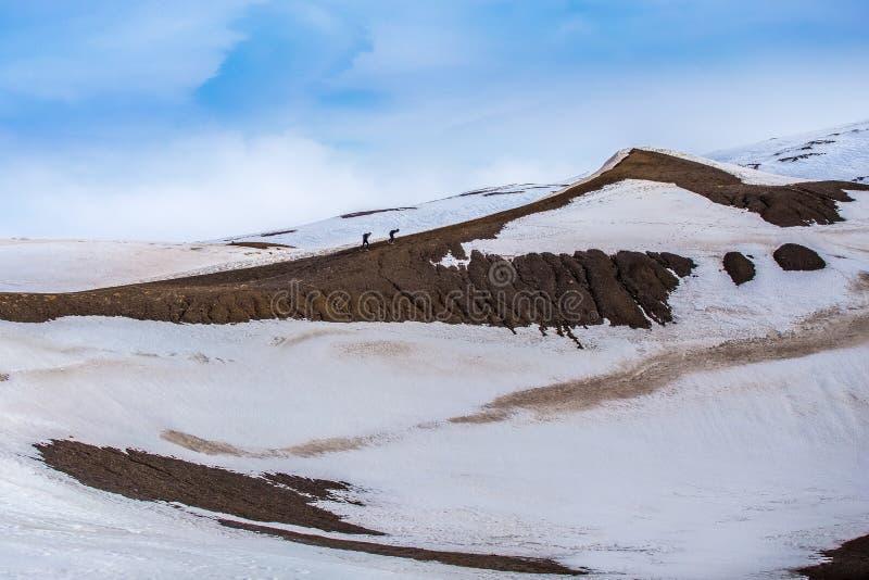 Deux hommes s'élevant jusqu'au volcan de Krafla images libres de droits