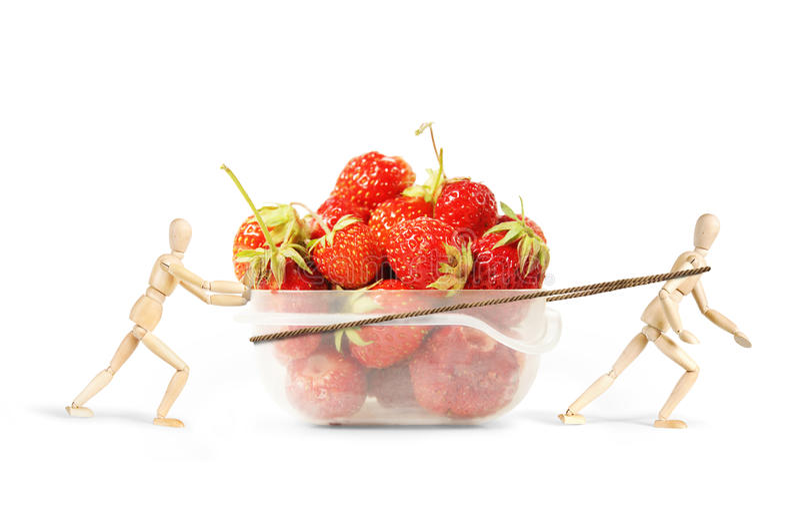 Deux hommes traînent une boîte en plastique avec les fraises mûres image libre de droits