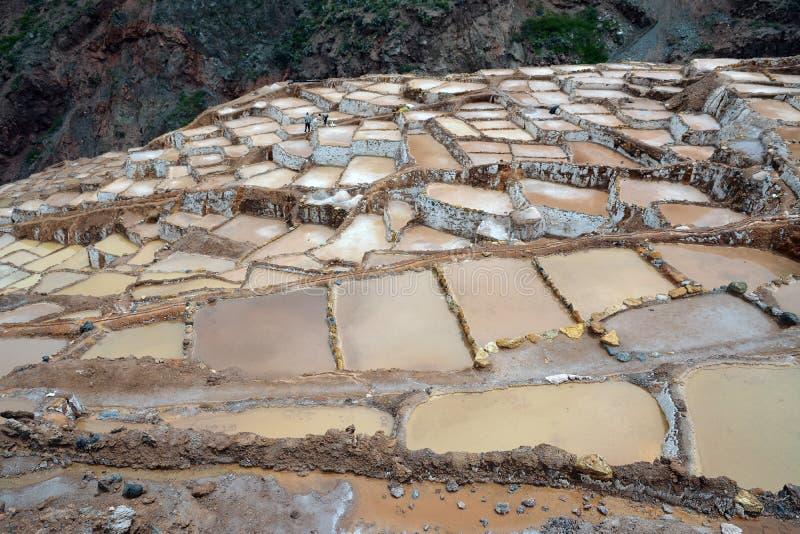 Deux hommes travaillant au sel s'accumule dans Maras, Cuzco, vallée sacrée photo stock