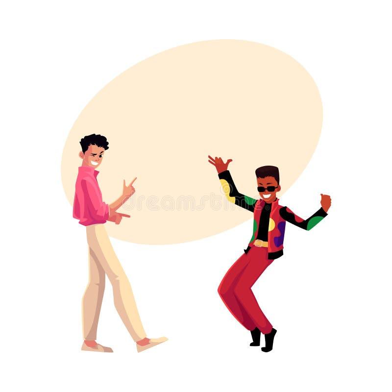 Deux hommes, types, caucasien et noir, à la rétro partie de disco illustration stock