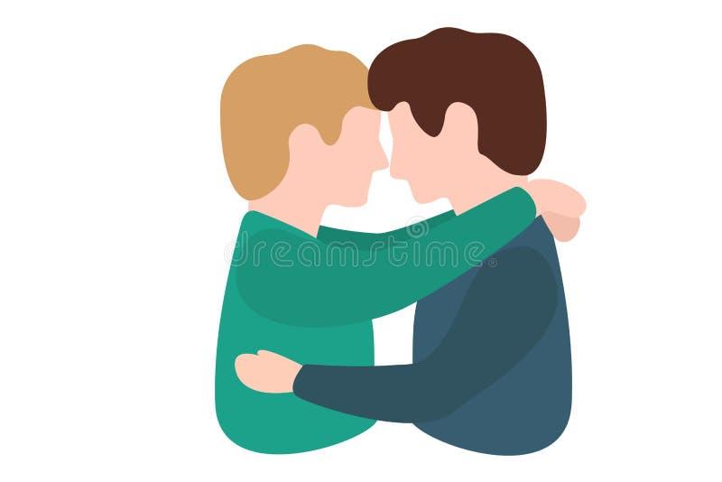 Deux homosexuels affectueusement embrasser et embrasser après illustration libre de droits