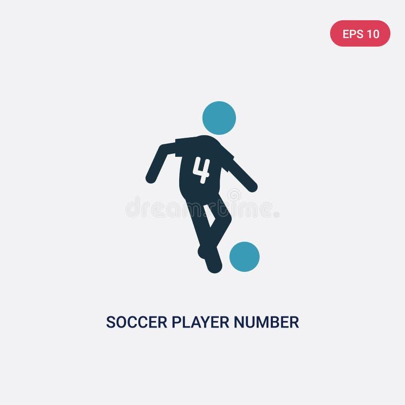 Deux icône de vecteur du numéro quatre de footballeur de couleur de concept de sports symbole bleu d'isolement de signe de vecteu illustration de vecteur