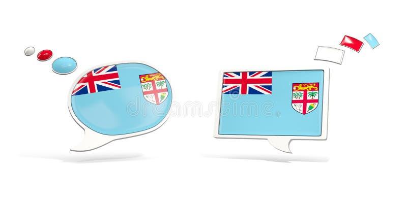 Deux icônes de causerie avec le drapeau du Fiji illustration de vecteur