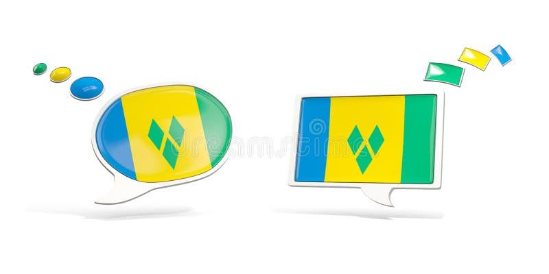 Deux icônes de causerie avec le drapeau du Saint-Vincent-et-les Grenadines illustration libre de droits