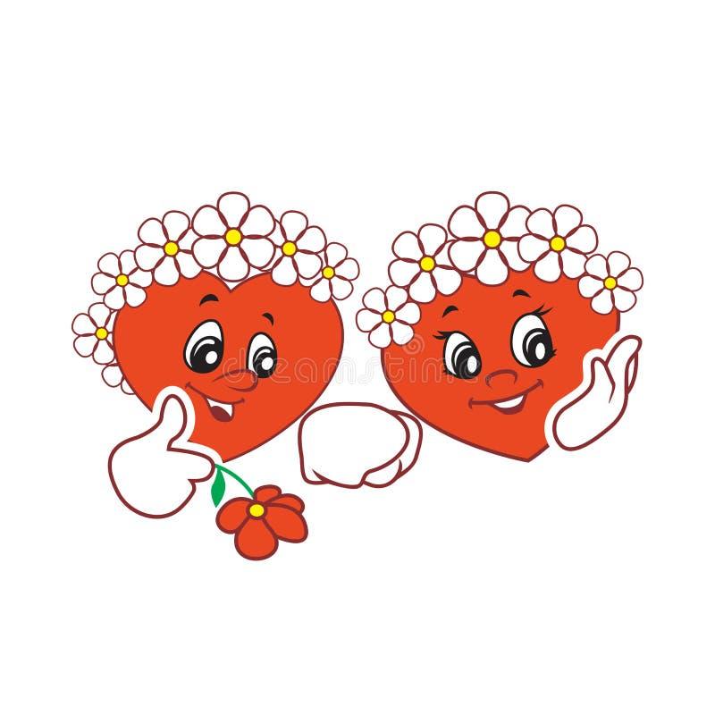 Deux illustrations de vecteur les coeurs de caractère de l'animation des enfants avec des fleurs sur les têtes illustration de vecteur