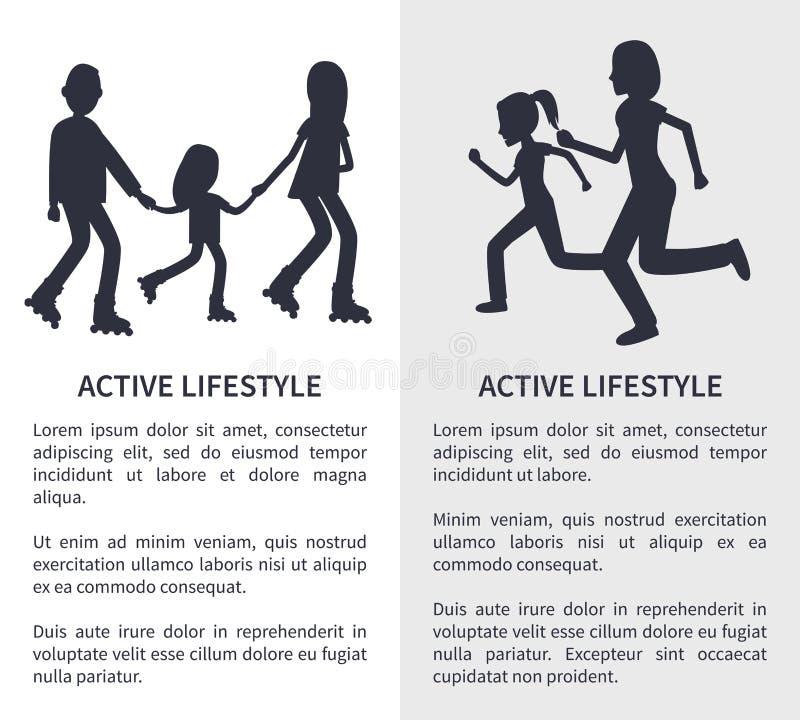 Deux illustrations lumineuses de vecteur de mode de vie actif illustration libre de droits