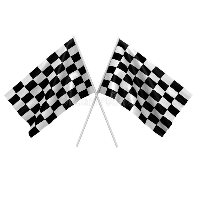 Deux indicateurs checkered de chemin - une image 3d illustration de vecteur