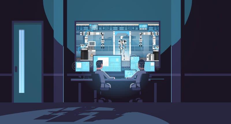 Deux ingénieurs regardant des moniteurs derrière l'intelligence artificielle de robot de production d'industrie robotique moderne illustration libre de droits