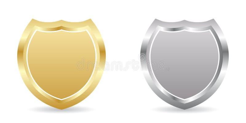 Deux insignes d'or et argentés illustration de vecteur
