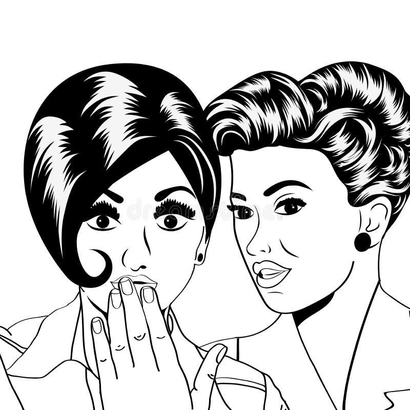 Deux jeunes amies parlant, illustration comique d'art illustration stock