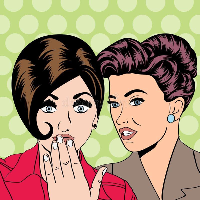 Deux jeunes amies parlant, illustration comique d'art illustration de vecteur